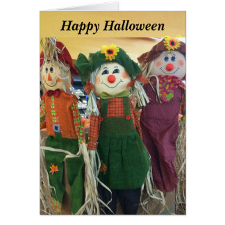 Happy Halloween Scarecrows Card
