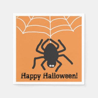 Happy Halloween | Scary Black Spider Paper Napkin