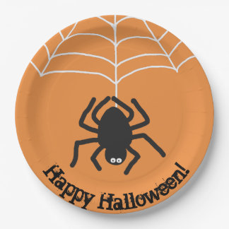 Happy Halloween | Scary Black Spider Paper Plate