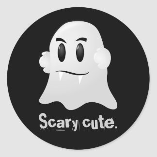 Happy Halloween scary cute kawaii vampire ghost Classic Round Sticker