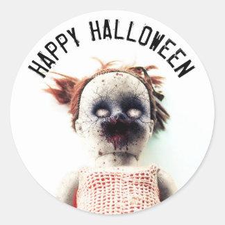 Happy Halloween Scary Doll Spooky Sticker