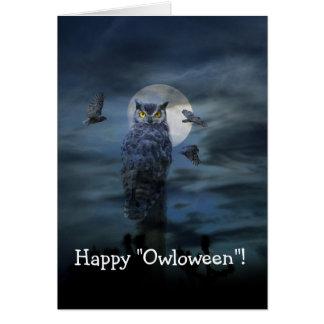 Happy Halloween Scary Owl Card