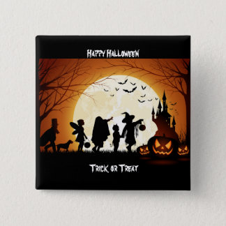 Happy Halloween Silhouette Children 15 Cm Square Badge
