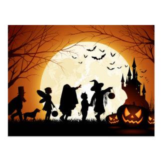Happy Halloween Silhouette Children Postcard