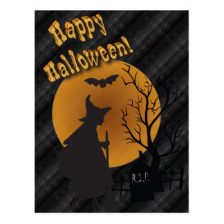 Happy Halloween Silhouette Witch Postcard
