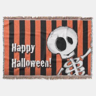 Happy Halloween Silly Skeleton Throw Blanket