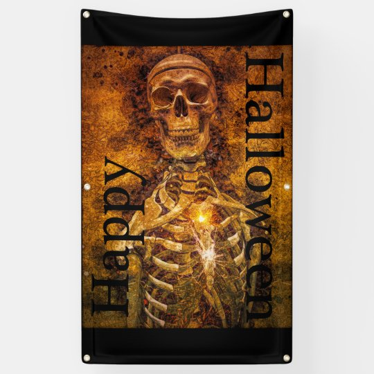 Happy Halloween  Skeleton Art Outdoor Banner