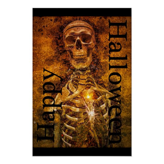 Happy Halloween Skeleton Art Poster