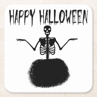 Happy Halloween Skeleton Ballet Dancer in Black Square Paper Coaster