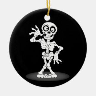 Happy Halloween Skeleton Ceramic Ornament