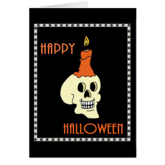 Happy Halloween Skull And Candle Greeting Card
