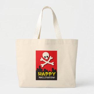 Happy Halloween! skull and crossbones Tote Bag