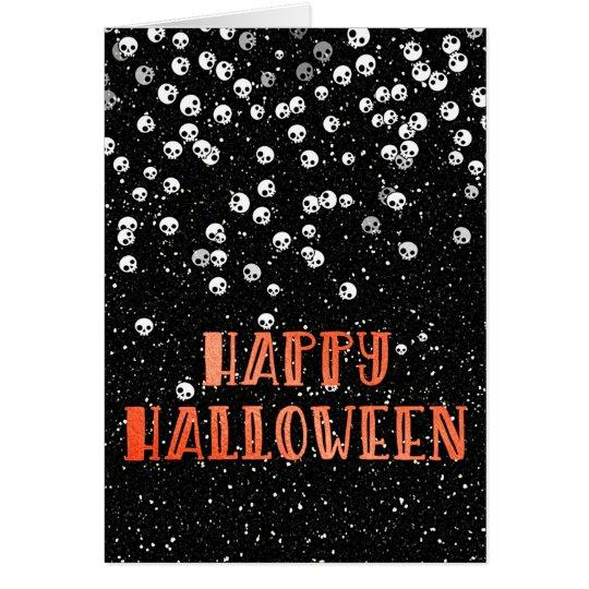 Happy Halloween Skull and Glitter Design Card