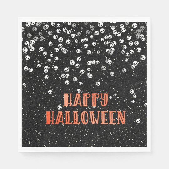Happy Halloween Skull and Glitter Design Disposable Serviette
