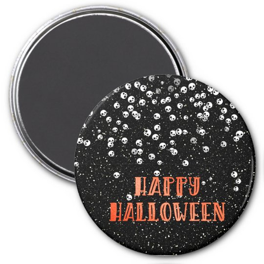 Happy Halloween Skull and Glitter Design Magnet