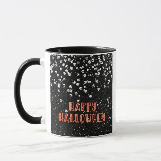 Happy Halloween Skull and Glitter Design Mug