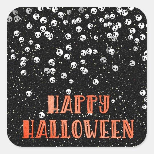 Happy Halloween Skull and Glitter Design Square Sticker