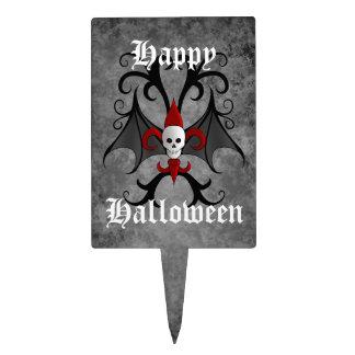 Happy Halloween skull and red fleur de lis Cake Topper
