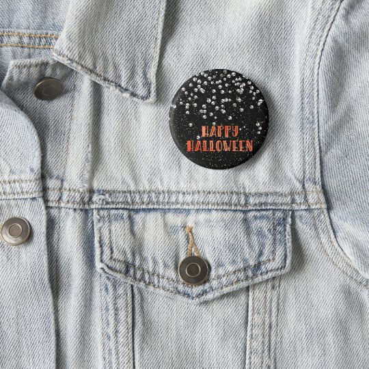 Happy Halloween Skull Confetti and Black Glitter 6 Cm Round Badge