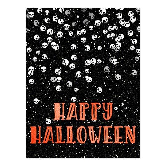 Happy Halloween Skull Confetti and Glitter Design Postcard