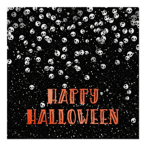 Happy Halloween Skull Confetti and Glitter Design Poster