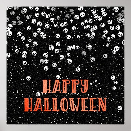 Happy Halloween Skull Confetti and Glitter Design Poster