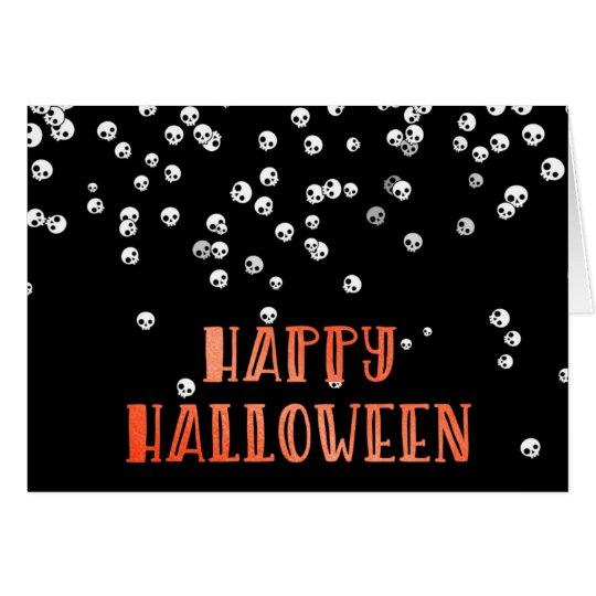 Happy Halloween Skull Confetti Design Card
