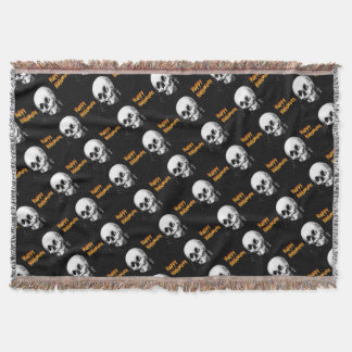 Happy Halloween Skull Optical Illusion Throw Blanket