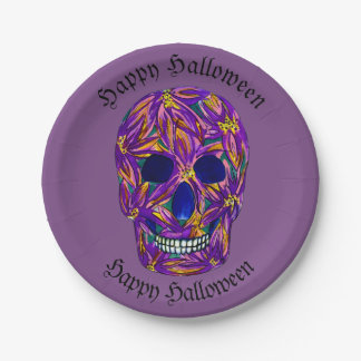 Happy Halloween Skull Paper Party Plates