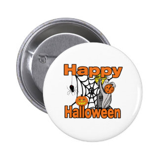 Happy Halloween Spider Web Ghost Pin