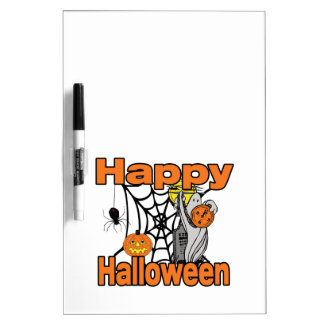 Happy Halloween Spider Web Ghost Dry-Erase Board