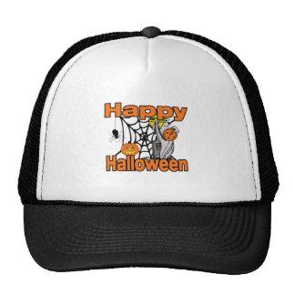 Happy Halloween Spider Web Ghost Mesh Hats