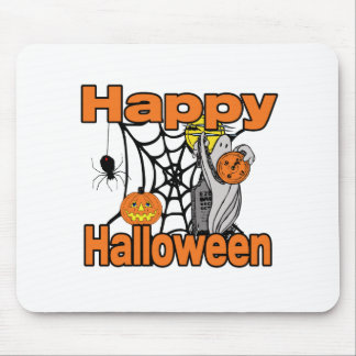 Happy Halloween Spider Web Ghost Mouse Pads