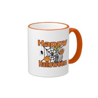 Happy Halloween Spider Web Ghost Coffee Mugs