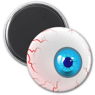 Happy Halloween! Spooky Blue Eyeball 6 Cm Round Magnet