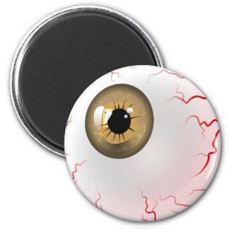 Happy Halloween! Spooky Brown Eyeball 6 Cm Round Magnet