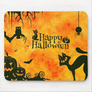 Happy Halloween Spooky Cat and Pumpkins Mousepad