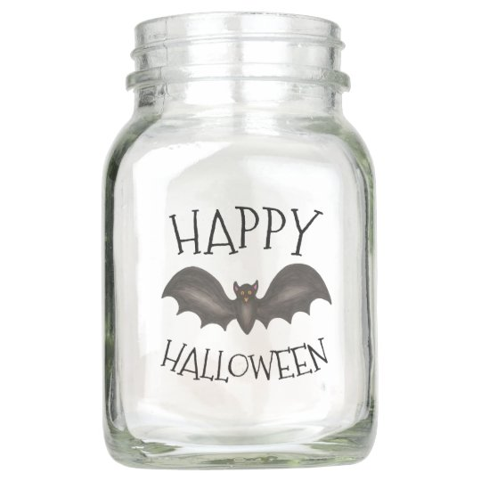 Happy Halloween Spooky Flying Black Bat Mason Jar