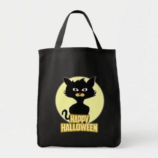 Happy Halloween Spooky Funny Black Cat Tote Bag