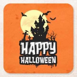 Happy Halloween Square Paper Coaster