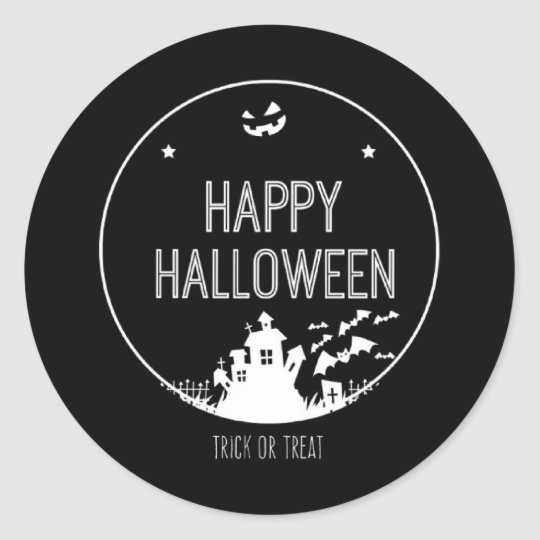Happy Halloween Trick Or Treat Classic Round Sticker