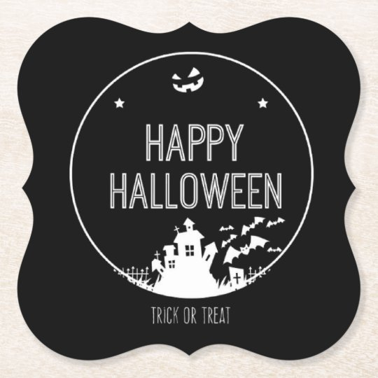 Happy Halloween Trick Or Treat Paper Coaster