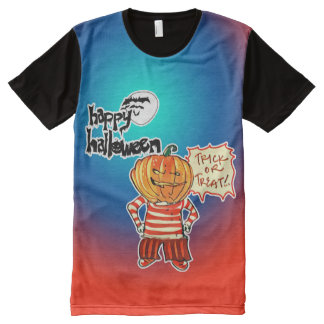 happy halloween trick or treat pumpkin boy All-Over print T-Shirt