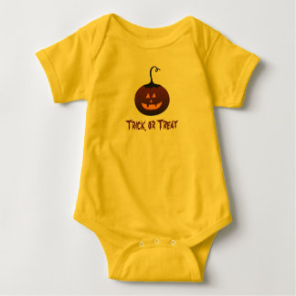Happy Halloween Trick Or Treat Spooky Pumpkin Baby Bodysuit