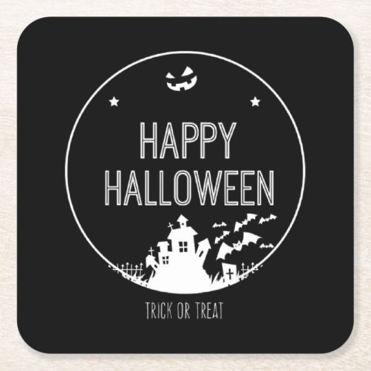 Happy Halloween Trick Or Treat Square Paper Coaster