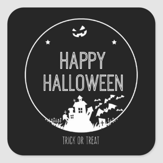 Happy Halloween Trick Or Treat Square Sticker