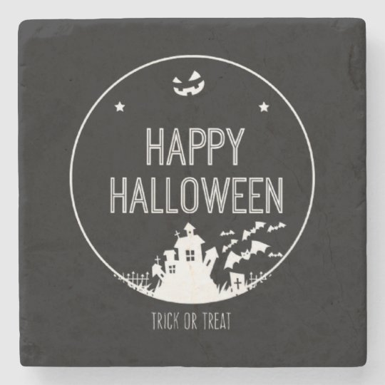 Happy Halloween Trick Or Treat Stone Coaster