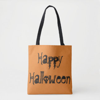 Happy Halloween two-sided tote with name