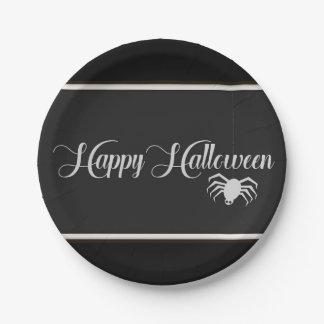 Happy Halloween Typography Paper Plate