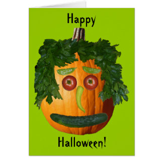 Happy Halloween - Uncut Pumpkin Face Greeting Card